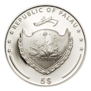 2012 Palau Marine Life Protection Green Pearl Mystery Of The Sea Fisherboat Mermaid and Neptune 5 Dollar