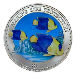 Niue 2000 1 Dollar Marine Life Protection Elisabeth II Color Coin