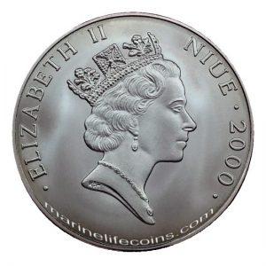 Niue 2000 1 Dollar Marine Life Protection Elisabeth II Color Coin