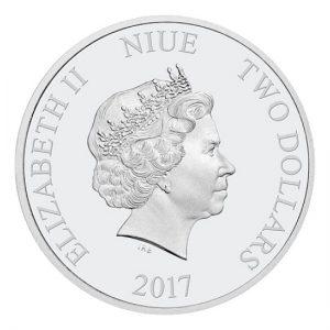 Niue 2017 Humpback Whale 1 Oz Silver Coin Elisabeth II Two Dollars back