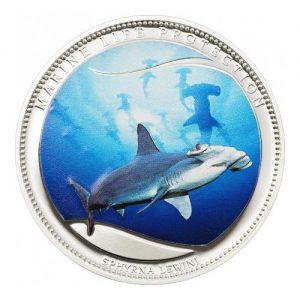 2010 Palau Color Coin Scalloped Hammerhead Shark Haifisch Marine-Life Protection Farbmünze Mermaids Meerjungfrauen