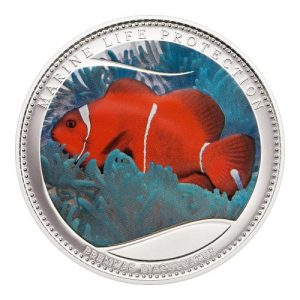 2011 Palau Color Coin Clownfish Anemonefish Nemo Anemonenfisch Marine-Life Protection Farbmünze Mermaids Meerjungfrauen