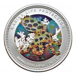 2012 Palau Color Coin Blue Ringed Octopus Blaugeringelte Kraken Oktopus Marine-Life Protection Farbmünze Mermaids Meerjungfrauen