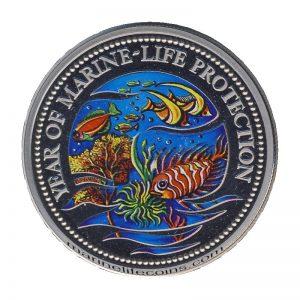 1992, Republic of Palau 1 Dollar Coin 1$ Year Of Marine Life Protection - Mermaid & Sailboat