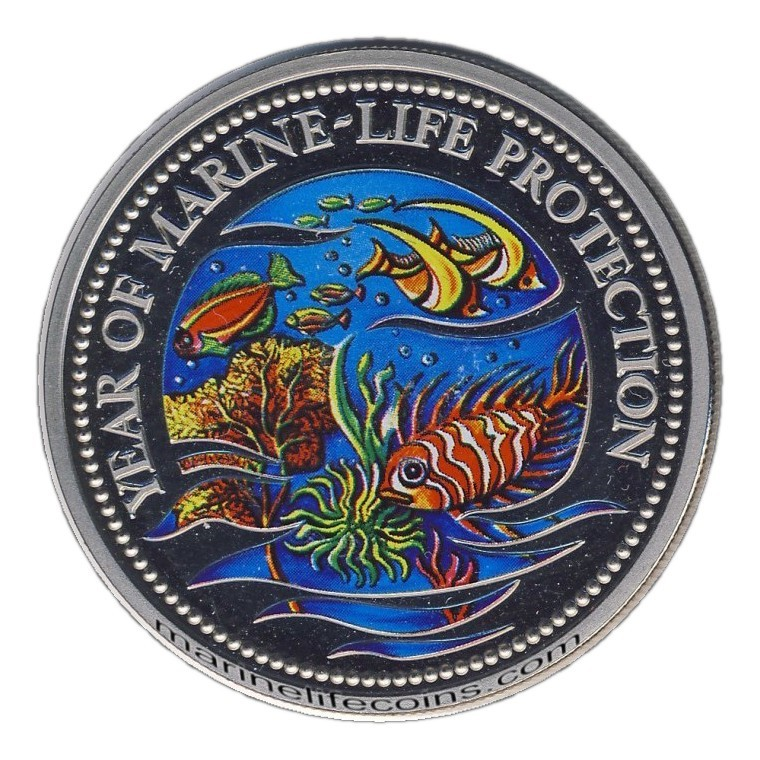 Year of Marine-Life Protection Palau Dollar 1992 Color Coin
