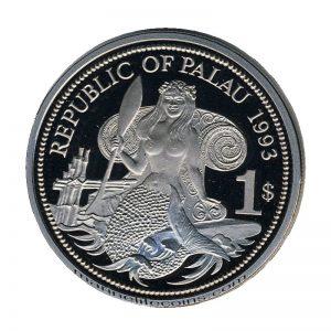 1993, Republic of Palau 1 Dollar Coin 1$ Dolphin Turtle Mermaid sitting Marine Life Protection