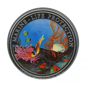 1994, Republic of Palau 1 Dollar Coin 1$ Mermaid holding a shell Sailing ship