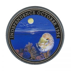1994, Republic of Palau 1 Dollar Coin 1$ Cuttlefish Marine Life Protection Independence October 1994 Mermaid & Neptun