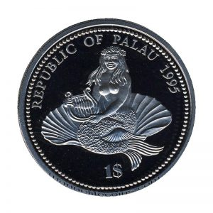 1995, Republic of Palau 1 Dollar Coin 1$ Seahorse & Lionfish Mermaid with harp sitting in a shell Marine Life Protection
