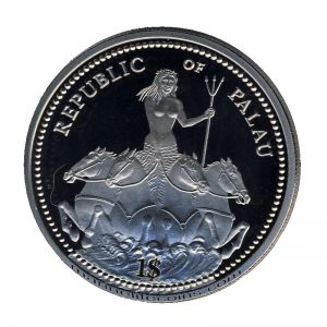 1995, Republic of Palau 1 Dollar Coin 1$ 50th Anniversary of UN · Mermaid on horses Marine Life Protection