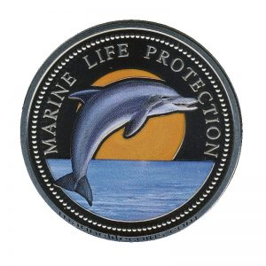 1998, Republic of Palau 1 Dollar Coin 1$ Jumping Dolphin Sunset Two Mermaids Marine Life Protection