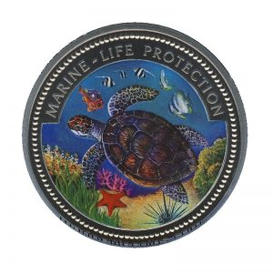 1998, Republic of Palau 1 Dollar Coin 1$ Seaturtle Mermaid with Cockatoo Marine Life Protection