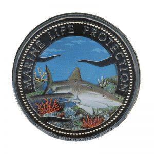 1999, Republic of Palau 1 Dollar Coin 1$ Shark Coral Reef · Mermaid · Marine Life Protection