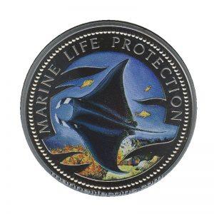 1999 Republic of Palau 1 Dollar Coin 1$ Manta Ray Mermaid with Dolphin Marine Life Protection