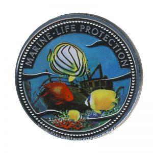 2000 Sunken Ship Four Fish Mermaid Marine Life Protection Republic of Palau 1 Dollar Coin 1$