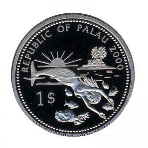 2000 Swordfish Blue Marlin Diving Mermaid Marine Life Protection Republic of Palau 1 Dollar Coin 1$
