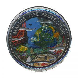 2001 Glittering Emperor Angel Fish Mermaid Marine Life Protection Republic of Palau 1 Dollar Coin 1$