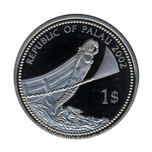 2002 Blue Surgeon Fish Mermaid Marine Life Protection Republic of Palau 1 Dollar Coin 1$