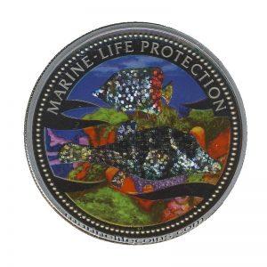 2002 Hologram Fish Mermaid Marine Life Protection Republic of Palau 1 Dollar Coin 1$