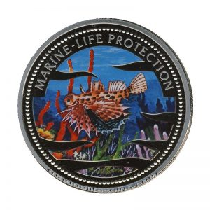 2002 Dwarf Lionfish Scorpionfish Mermaid Marine Life Protection Republic of Palau 1 Dollar Coin 1$