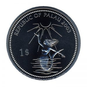 2003 Red Crab Mermaid Marine Life Protection Republic of Palau 1 Dollar Coin 1$