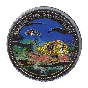 2003 Glittering Fish Reflective Fish Mermaid Marine Life Protection Republic of Palau 1 Dollar Coin 1$