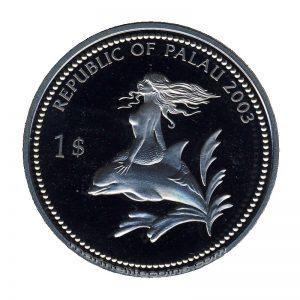 2003 Red Starfish Mermaid Marine Life Protection Republic of Palau 1 Dollar Coin 1$