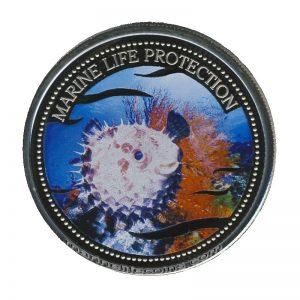 2004 Blowfish Pufferfish Marine Life Protection Republic of Palau 1 Dollar Coin 1$
