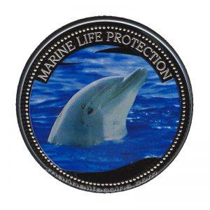 2004 Dolphin Marine Life Protection Republic of Palau 1 Dollar Coin 1$