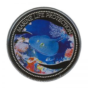 2005 Blue spotted Stingray Mermaid Marine Life Protection Republic of Palau 1 Dollar Coin 1$