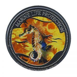 2005 Seahorse Mermaid Marine Life Protection Republic of Palau 1 Dollar Coin 1$