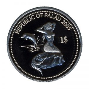 2005 School of Angelfish Mermaid and Dolphin Marine Life Protection Republic of Palau 1 Dollar Coin 1$