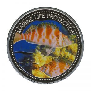 2006 Palau Color Coin Hog Fish Büschel-Barsch Marine-Life Protection Farbmünze