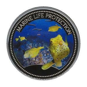 2006 Palau Color Coin Box Fish Kofferfisch Pufferfish Marine-Life Protection Farbmünze