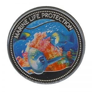 2006 Palau Color Coin Parrotfish Papageienfisch Marine-Life Protection Farbmünze