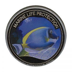 2007 Palau Color Coin Blue Surgeon Fish Doktorfisch Marine-Life Protection Farbmünze Mermaid Neptun