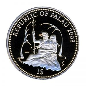 2008 Palau Color Coin Shark Haifisch Marine-Life Protection Farbmünze Mermaid Neptun