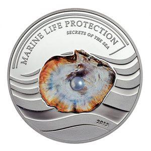2013 Palau Marine Life Protection Pearl Light Blue Secrets Of The Sea Mermaid and Neptune